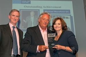 Michael Mansfield QC, presented with the award for Outstanding Achievement 2010 by LALY chair Cherie Booth QC
